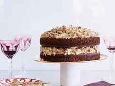 German Chocolate Cake Actress Ali Larter's super-indulgent dessert features layers of light chocolate cake and a sweet coconut-pecan frosting. Decadent Chocolate Cake, German Chocolate, Chocolate Cakes, Chocolate Desserts, Coconut Pecan Frosting, Let Them Eat Cake, Just Desserts, Dessert Recipes, Wine Recipes