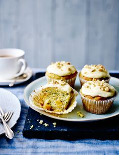 Courgette, orange and hazelnut muffins - Frosted with cream cheese icing, these muffins are an indulgent treat, but they are also lovely for breakfast, uniced and served warm