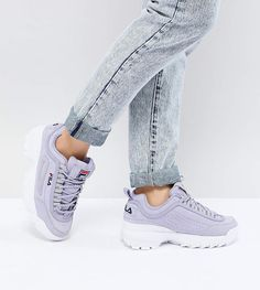 Fila Premium Disruptor Sneakers In Lilac Shoes Purple Cool shoes Trending Casual Fashion Street Fashion Crazy Heels, Fila Disruptors, Girl Trends, Sneaker Brands, Asos, Adidas, Sock Shoes, Athletic, Fashion Outfits