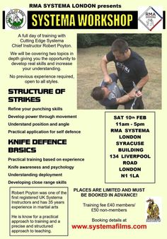 RMA Systema London, UK represents their seminar with Rob Poyton.  Main topics is structure of strikes and knife defence basic.  #knifedefense #knifedefence #systema #strikes #russianmartialart #rmasystemalondon