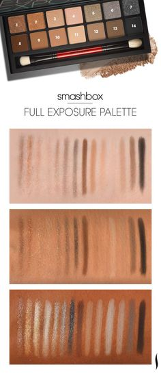 We swatched the Smashbox Full Exposure palette to see what it looks like on different skin tones. What do you think? #Sephora #palettes #swatches #eyecandy