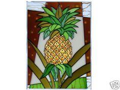 10x14 Stained Art Glass PINEAPPLE Fruit SUNCATCHER Panel $38.50