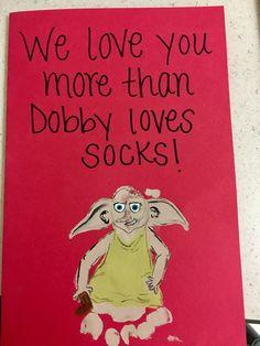 "Dobby/Harry Potter card ""I love you more than Dobby loves socks!"" ~Footprint craft"