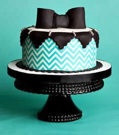 Turquoise & Black Chevron Cake Photo