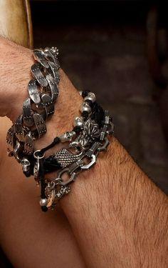 King Baby - Handcrafted Men's Knotted Cord Bracelet W/Skulls - Sterling Silver. Bracelets Handmade In USA. Skull Bracelet, Bracelet Clasps, Cord Bracelets, Skull Jewelry, Metal Jewelry, Bangle, Jewlery, Cool Mens Bracelets, Handmade Bracelets