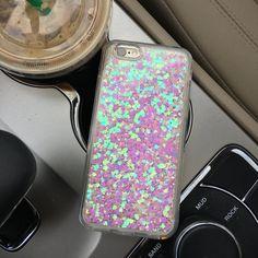 Flüssiger Glitzer und Herz-Case für das iPhone 6/6 s und 6/6 s plus.  Die Herzen und Glitzer bewegen, wenn Sie Ihr Handy kippen. Glitzer und Herzen sind in einem dicken Kunststoff-Gehäuse! Der Glanz ist holographische und spiegelt viele helle Farben je nach Lichteinfall