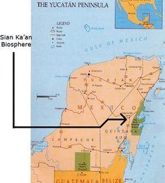 Sian Ka'an Biosphere Map, Yucatán, Mexico