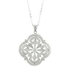Alexia Give her a vintage design with modern sensibilities! Fashioned in fine Sterling Silver, this rounded shape Alexia necklace features an intricate filigree design that shimmers with our AAA quality CZ stones buffed to a brilliant shine. The Alexia suspends from a 16.0-inch cable chain that secures with a spring ring clasp. Truly beautiful!!