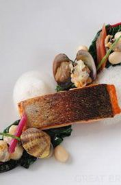 Sea trout with ruby chard and clams - Alan Murchison - the best of British coastal produce.