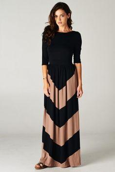 Elizabeth Chevron Maxi Dress