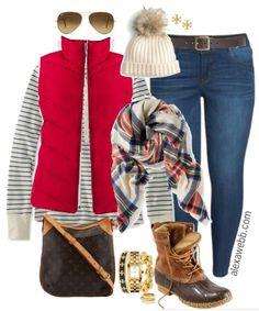 Plus Size Red Vest Outfit - Alexa Webb winter outfits plus size Plus Size Red Vest Outfit - Alexa Webb Casual Winter Outfits, Plus Size Winter Outfits, Outfits Plus Size, Winter Dress Outfits, Winter Fashion Casual, Preppy Outfits, Western Outfits, Outfit Winter, Dress Winter