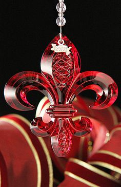 waterford christmas decorations red crystal | Waterford 2013 Fleur de Lys Ornament - Red