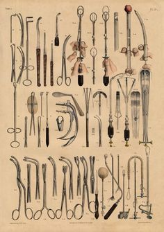 Antique Medical Anatomy Print Surgical Instruments PL 19 Bourgery 1831