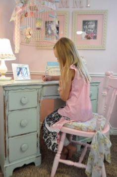 Cute girls room ideas. I LOVE the bird cage idea. (Studio 5 - Create a Shabby Chic Bedroom)
