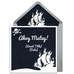 Ahoy, matey! Free pirate invitation. We love this pirate ship silhouette online invitation that you can personalize and send via email.