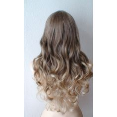 Brown / Dirty blonde / Ash Blonde Ombre wig. Long curly hair long side... ($140) ❤ liked on Polyvore featuring beauty products, haircare, hair styling tools, hair and curly hair care