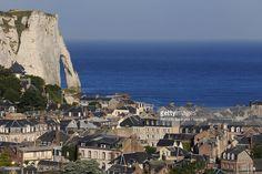 Stock Photo : France, Seine Maritime, Pays de Caux, Cote d'Albatre (Alabaster Coast), Etretat from the heights