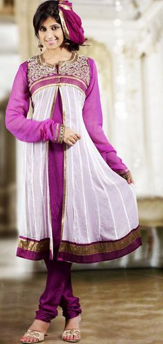 $105.53 White and Pink Faux Georgette Thread Work Anarkali Salwar Suit 25129