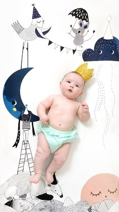 Fitted Crib Sheet by Rookie Humans. Happy Birthday Moon! Illustrated with love by Swantje Hinrichsen, this gorgeous limited-edition fitted sheet invites your tiny dreamer to RSVP to the sleepiest party tonight.