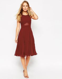 ASOS: Sheer And Solid Pleated Midi Dress (Oxblood)