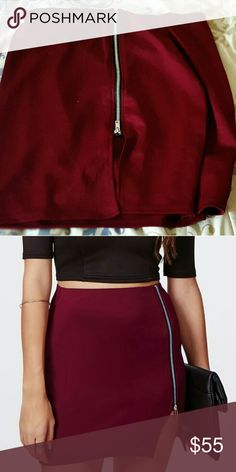 Missguided Zipper Skirt. Blood Red/Burgundy Color, Stretchy, Mini Length, Zipper. Email me at LJrose213@gmail.com for any questions or inquiries <3. Skirts Mini