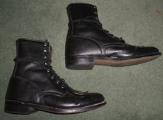 Women's Black OLD WEST Lace Up Roper Style Western Cowboy Boots, Size 8.5, GUC…