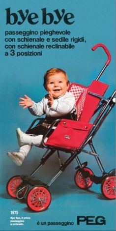 Vintage 1970s PEREGO Bye Bye Baby Umbrella Fold Stroller