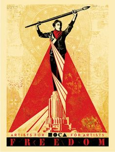 """Artists For Freedom - """"Philippe Vergne from MOCA asked me if I would be willing to work on not only the graphic design identity system for the MOCA/Sotheby's Spring auction, but to also create a fine art piece for the auction that relates to the design for the auction itself..."""" http://www.obeygiant.com/prints/artists-for-freedom?utm_content=buffer4bec5&utm_medium=social&utm_source=pinterest.com&utm_campaign=buffer #art #arte #poster"""
