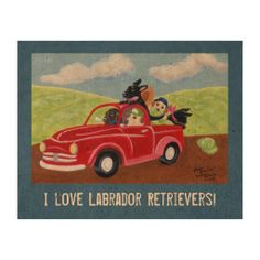 Red Truck and Labradors Painting Cork Paper Poster.  Unique Labrador artwork by Naomi Ochiai.  #labrador #dog #poster #corkpaper