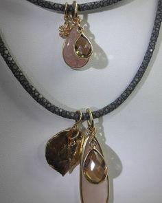 Rauchquarz - Rochenleder Collier Kette Buddha Gold Blatt Silber - ein Designerstück von TOMKJustbe bei DaWanda