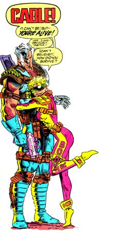 """Cable & Boom Boom (from X-Force #25 - August 1993) by Greg Capullo - """"I can't believe it! How did you survive?"""" #Boomer"""