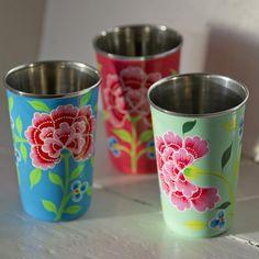 hand-painted folksy floral enamelware from Fairwind