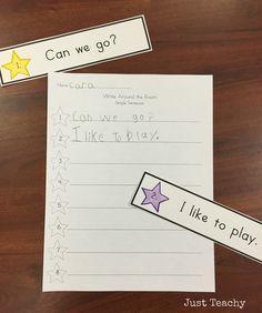 Write Around the Room - Simple Sentences Kindergarten Language Arts, Kindergarten Literacy, Literacy Centers, Preschool, 1st Grade Writing, Kids Writing, Phonics Activities, Writing Activities, Teaching Reading