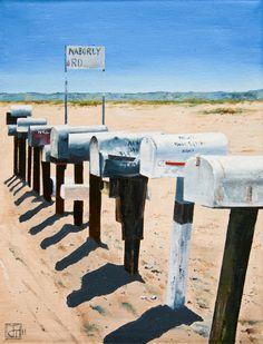 "Saatchi Online Artist: John Tierney; Oil, 2011, Painting ""Mailboxes, Naborly Rd, Twentynine Palms, CA (#2)"" #JohnTierney"