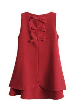 Bowknot sleeveless Red Dress