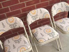 Reupholster & spray paint old metal folding chairs! I would love to do this...now to find some ugly old chairs!