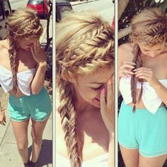 long hair with double braid