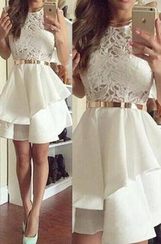 Homecoming Dresses Short, Short Homecoming Dresses, Ivory Homecoming Dresses, Sleeveless Homecoming Dresses, Layered Homecoming Dresses, Mini Homecoming Dresses