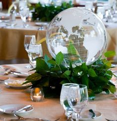 Need an affordable and local location for a business meeting? The http://www.camanocatering.com is the perfect place! business events ideas corporate event ideas business business meeting table decorations travel decorations table settings business centerpiece globe centerpiece