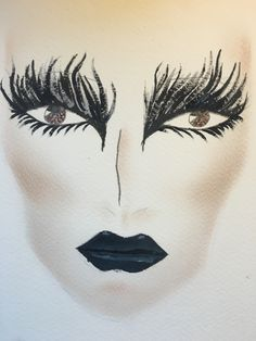 This is my final design. I have created a feathery effect around the eyes taking inspiration from photographs of Ravens and the colours that can be seen in their feathers e.g. Blue and black. I have used cold tones across be whole look something that I have developed from previous designs. The contour is strong, a trait that is seen in many Tim Burton characters, as they often look gaunt and almost sickly.
