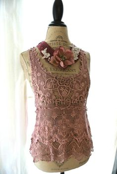 Country gypsy lace shirt shabby vintage pink by TrueRebelClothing, $52.00