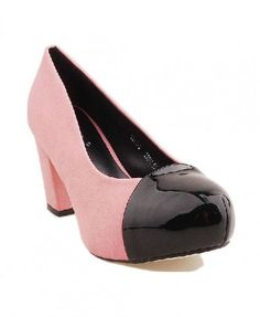 PU Leather High Heel Shoes in Color Block