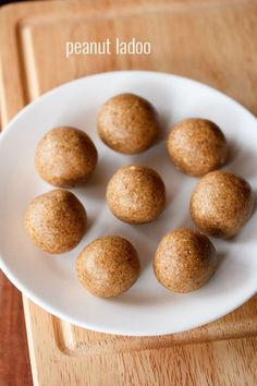 peanut ladoo recipe with step by step photos - a two ingredient easy recipe of ladoos made with roasted peanuts and jaggery. peanuts are loved at my place. usually we just roast the peanuts and store Easy Indian Dessert Recipes, Indian Fish Recipes, Indian Desserts, Indian Dishes, Sweets Recipes, Cooking Recipes, Diwali Recipes, Peanut Recipes, Indian Snacks