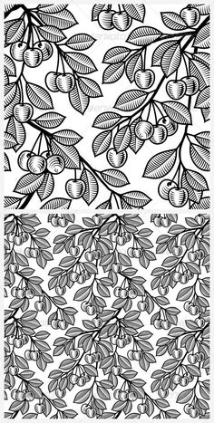 Seamless cherry background in woodcut style. Black and white vector illustration with clipping mask.