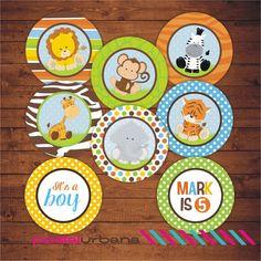 Imprimibles Toppers Cupcake Safari Cupcake toppers por PostalUrbana