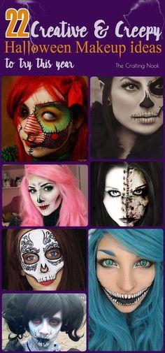 22 Creative and Creepy Halloween Makeup Looks Ideas to try this Year! #Halloweenmakeup #Hallweenfacepainting #halloweenconstumes