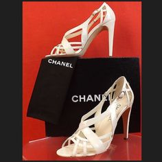 Chanel Blanc Formal Pumps / Sandals Authentic Chanel.  Size 38.  Used - only worn twice & in excellent condition. Comes with shoe bags and box. Please let me know if you have any questions. NO TRADES CHANEL Shoes Heels