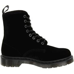 Dr. Martens Page (Black Ze You Velvet) Women's Boots (€66) ❤ liked on Polyvore featuring shoes, boots, black, black lace up shoes, black boots, lace up boots, black velvet shoes and anti slip shoes