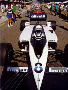 G.P. de Brasil, Jacarepagua, 1986 - Elio De Angelis (Brabham BT55) - Michele Alboreto (Ferrari F186).