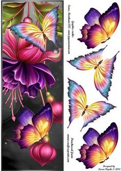 Night Time Flutters DL on Craftsuprint designed by Karen Wyeth - A pretty butterflies DL quick card set on a subtle night time effect background - with 2 sets of butterfly embellishments. xk - Now available for download!